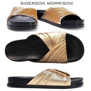 Sigerson Morrison Amanda Gold Leather slide sandal